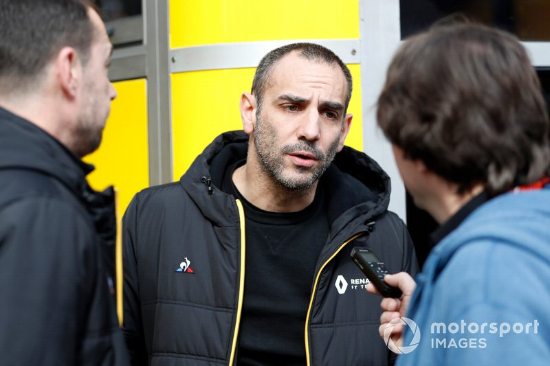 Cyril Abiteboul, Renault F1 Managing Director Talks with the media