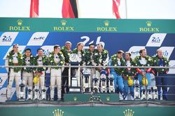 Overall podium: winners Timo Bernhard, Earl Bamber, Brendon Hartley, Porsche Team, second place Ho-Pin Tung, Oliver Jarvis, Thomas Laurent, DC Racing, third place Mathias Beche, David Heinemeier Hansson, Nelson Piquet Jr., Vaillante Rebellion Racing