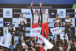 Podium: winners Jari-Matti Latvala, Miikka Anttila, Toyota Racing, second place Ott Tänak, Martin Järveoja, M-Sport, third place Sébastien Ogier, Julien Ingrassia, M-Sport