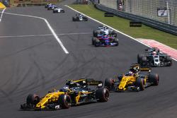 Jolyon Palmer, Renault Sport F1 Team RS17 and Nico Hulkenberg, Renault Sport F1 Team RS17