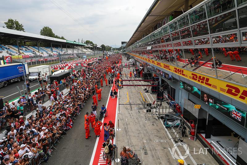 Ferrari fans on the pitlane walkabout