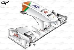 Force India VJM04 low downforce nose design