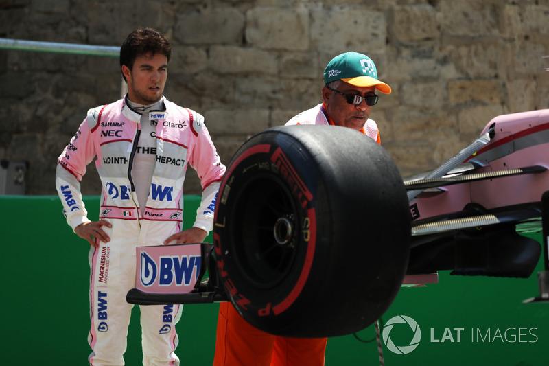 Sergio Pérez, Sahara Force India VJM10 choca en la PL1