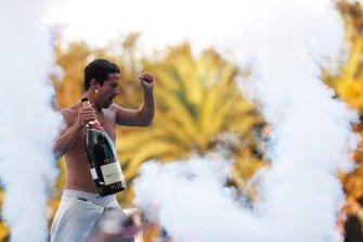 Lucas Di Grassi, Audi Sport ABT Schaeffler, celebrates on the podium after winning the race