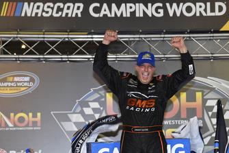Johnny Sauter, GMS Racing, Chevrolet Silverado GMS Fabrication, wins NASCAR Camping World Truck Series, UNOH 200 at Bristol Motor Speedway.