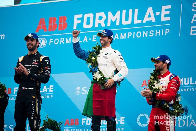 Winner Antonio Felix da Costa, BMW I Andretti Motorsports with second position Jean-Eric Vergne, DS TECHEETAH, third position Jérôme d'Ambrosio, Mahindra Racing on the podium