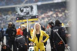 Grid girl of Anthoine Hubert, Van Amersfoort Racing Dallara F312 - Mercedes-Benz