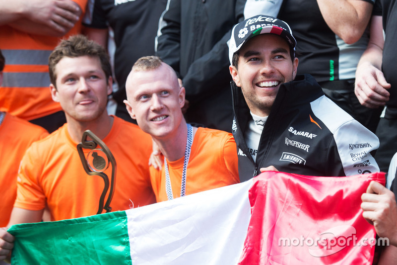 Sergio Perez, Sahara Force India F1 celebrates his third position with the team
