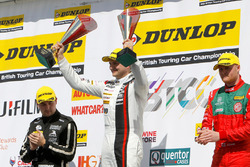Podium: race winner Mat Jackson, Motorbase Performance, second place Josh Cook, Triple Eight Racing, third place, Tom Ingram, Speedworks Motorsport