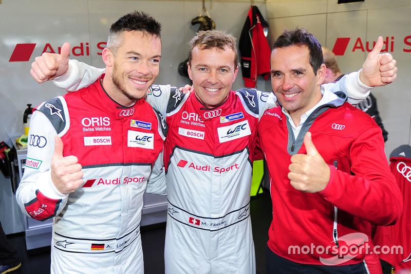 Ganadores de la pole LMP1 Marcel Fässler, Andre Lotterer, Benoit Tréluyer, Audi Sport Team Joest