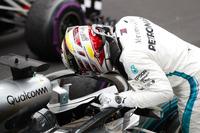 Third place Lewis Hamilton, Mercedes AMG F1, arrives in Parc Ferme