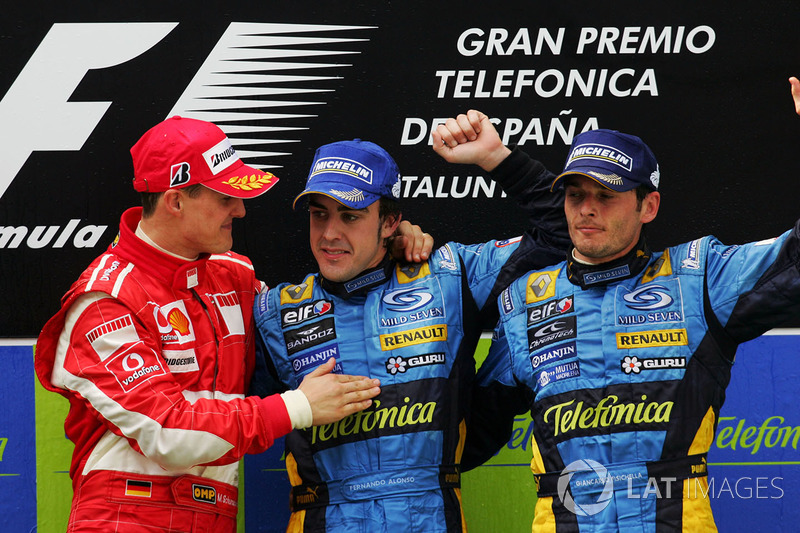 2006: 1. Fernando Alonso, 2. Michael Schumacher, 3. Giancarlo Fisichella