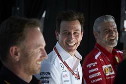Christian Horner, Takım Patronu, Red Bull Racing, Toto Wolff, Direktör, Mercedes AMG, ve Maurizio Arrivabene, Takım Patronu, Ferrari