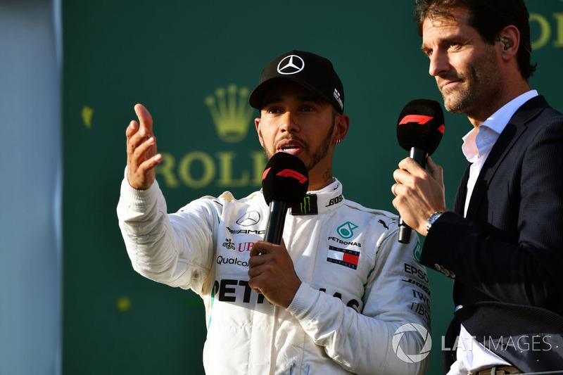 Lewis Hamilton, Mercedes-AMG F1 on the podium