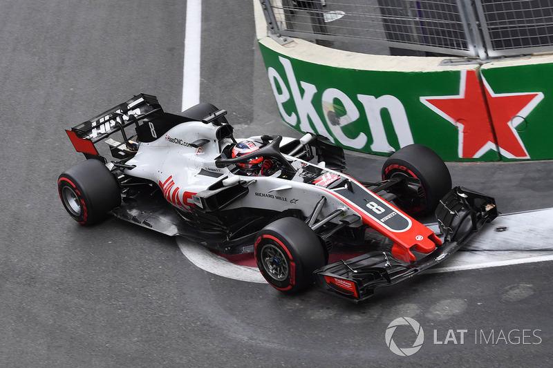 Grosjean after infamously crashing under safety car