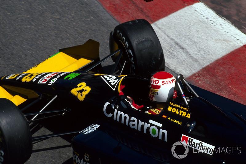 Также за бортом гонки остались Бернд Шнайдер (Zakspeed), Адриан Кампос (Minardi, на фото) и Джулиан Бейли (Tyrrell).