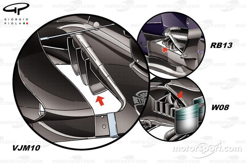 A Force India VJM10, a Mercedes W08 és a Red Bull RB13 padlólemezei