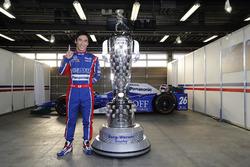 Takuma Sato and Borg Warner Trophy