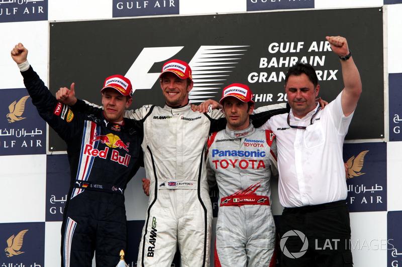 2009. Подіум: 1. Дженсон Баттон, Brawn. 2. Себастьян Феттель, Red Bull. 3. Ярно Труллі, Toyota