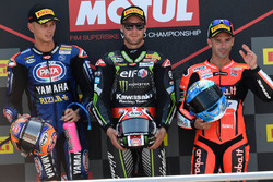 Race winner Jonathan Rea, Kawasaki Racing, second place Michael van der Mark, Pata Yamaha, third place Marco Melandri, Aruba.it Racing-Ducati SBK Team