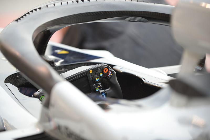Haas F1 Team VF-18 steering wheel detail