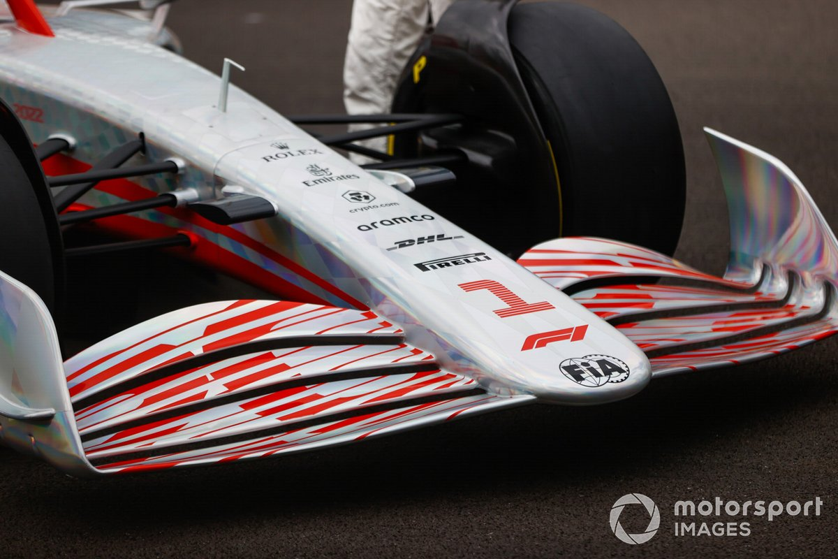 The 2022 Formula 1 car launch event on the Silverstone grid. Nose and front wing detail