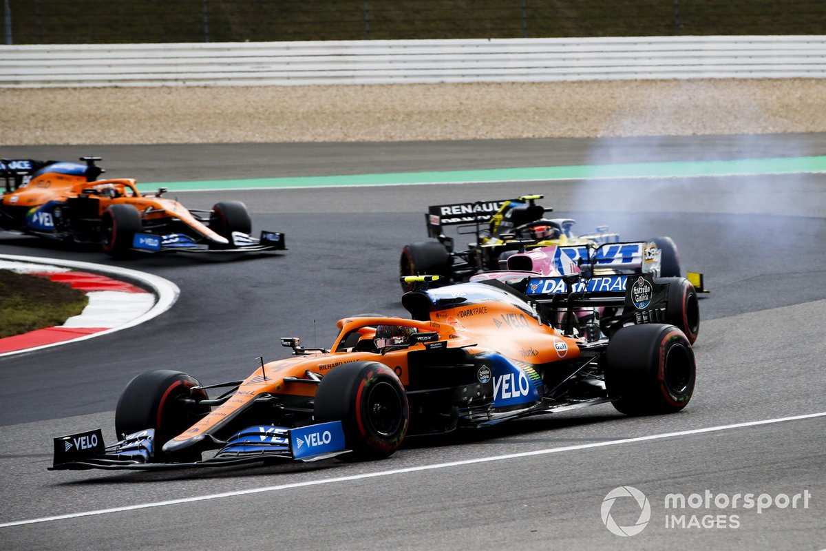 Lando Norris, McLaren MCL35, Sergio Perez, Racing Point RP20, and Esteban Ocon, Renault F1 Team R.S.20