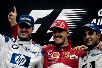 Podio: Michael Schumacher, Ferrari, Ralf Schumacher, BMW Williams, Juan-Pablo Montoya, BMW Williams