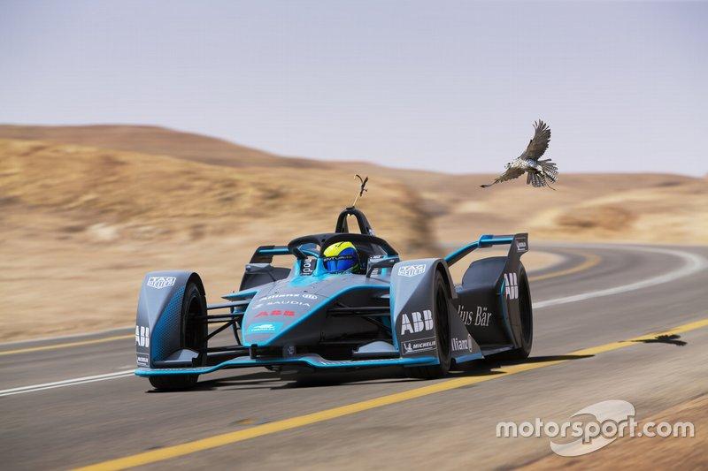 Felipe Massa sfida un falco con una monoposto Gen2 di Formula E