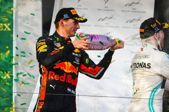 Max Verstappen, Red Bull Racing, 3rd position, sprays Champagne on the podium
