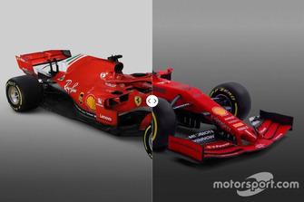 Comparación del Ferrari SF71H vs. SF90