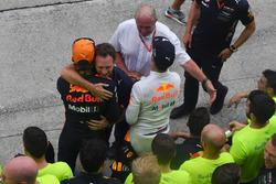 Christian Horner, Red Bull Racing Team Principal and Max Verstappen, Red Bull Racing celebrate