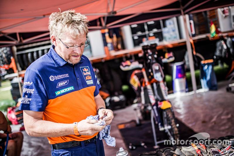 Team member of Red Bull KTM Factory Racing at the bivouac