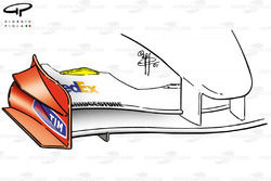 Ferrari F2001 front wing, triangular gurney added (highlighted in yellow)