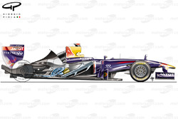 Red Bull RB7 side view, exhausts system showing through removed engine cover
