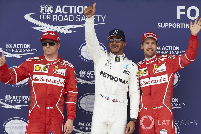 Top three qualifiers Lewis Hamilton, Mercedes AMG F1, Kimi Raikkonen, Ferrari, Sebastian Vettel, Fer