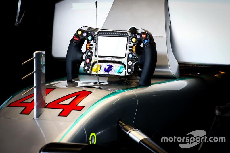 The steering wheel of Lewis Hamilton, Mercedes AMG F1 W07 Hybrid