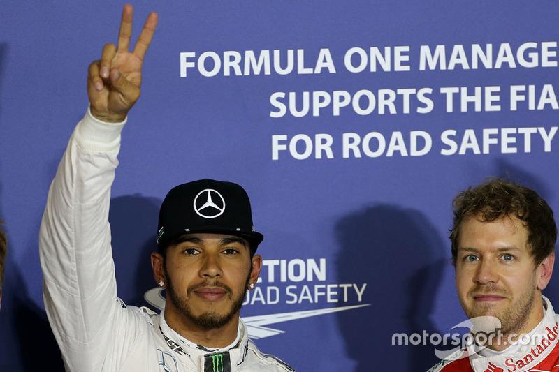 Polesitter Lewis Hamilton, Mercedes AMG F1 Team, third place Sebastian Vettel, Ferrari