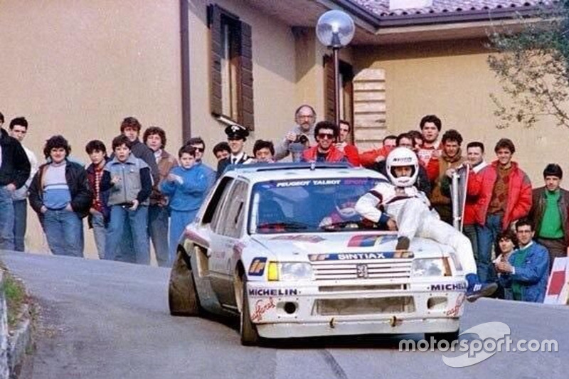 Popi Amati al Rally 1000 Miglie 1986 su Peugeot 205 T16