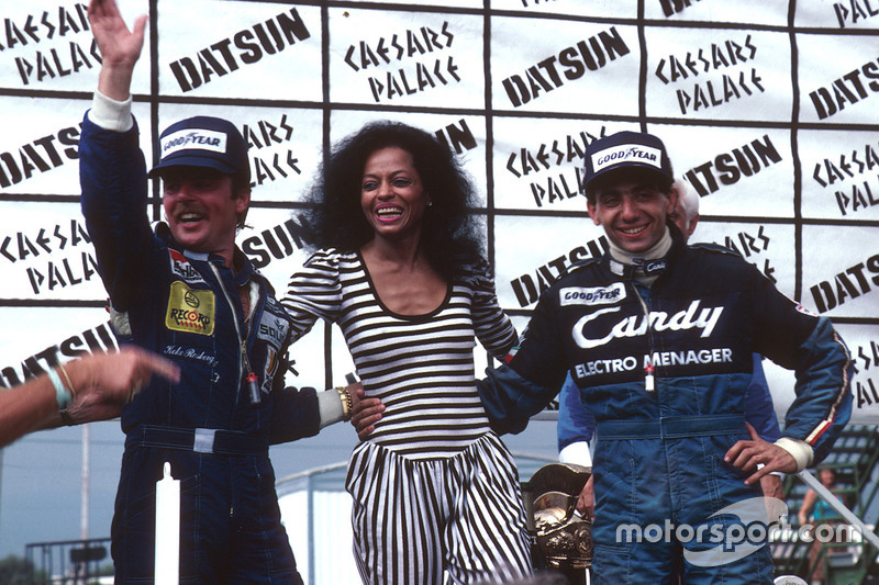 Reigning supreme in Vegas - Rosberg has just won the 1982 World Championship, Diana Ross has awarded the trophies, and Alboreto has just landed his first GP victory.