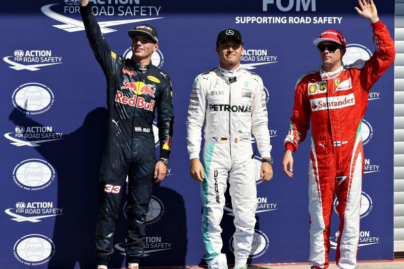 Qualifying: 1. Nico Rosberg, Mercedes AMG F1; 2. Max Verstappen, Red Bull Racing; 3. Kimi Räikkönen,