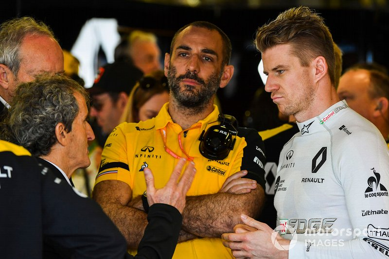 Alain Prost with Cyril Abiteboul, Managing Director, Renault F1 Team, and Nico Hulkenberg, Renault F1 Team