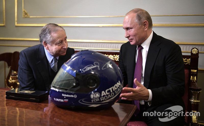 Президент России Владимир Путин и президент FIA Жан Тодт