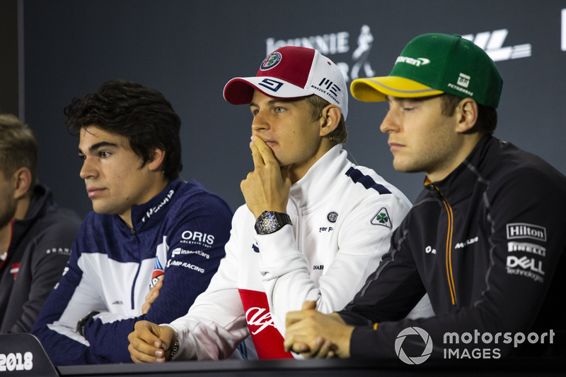 Lance Stroll, Williams Racing, Marcus Ericsson, Sauber and Stoffel Vandoorne, McLaren in the press conference