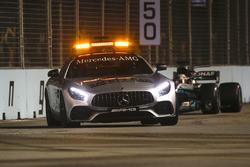 The Safety Car leads Lewis Hamilton, Mercedes AMG F1 W08