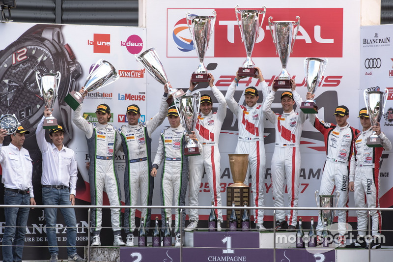 Podium: Race winner #25 Audi Sport Team Sainteloc Racing Audi R8 LMS: Markus Winkelhock, Christopher Haase, Jules Gounon, second place #8 Bentley Team M-Sport Bentley Continental GT3: Andy Soucek, Maxime Soulet, Vincent Abril, third place #90 Akka ASP Mercedes-AMG GT3: Michael Meadows, Raffaele Marciello, Edoardo Mortara