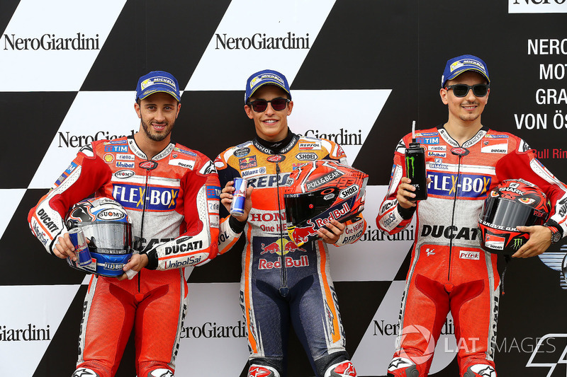 Top3 after qualifying: first place Marc Marquez, Repsol Honda Team, second place Andrea Dovizioso, Ducati Team, third place Jorge Lorenzo, Ducati Team