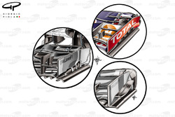 McLaren MP4-29 front wing (left inset shows new wing, upper right similarity to Red Bull design concept and lower right the old specification)