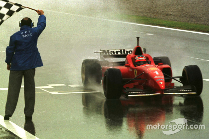 Checkered flag for Michael Schumacher, Ferrari