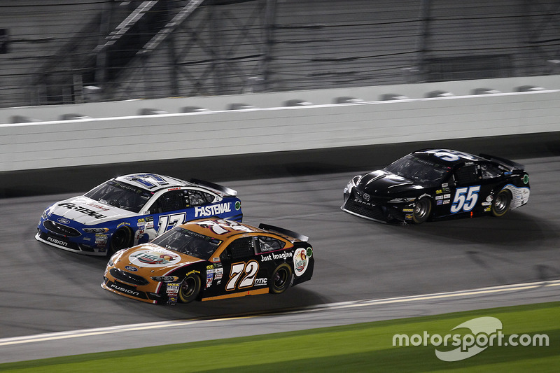 Cole Whitt, TriStar Motorsports, Ford; Ty Dillon, Germain Racing, Chevrolet; Reed Sorenson, Premium